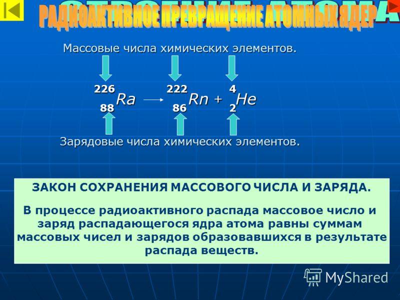Массовые числа химических элементов. Зарядовые числа химических элементов. 222226 88 4 286 RnRa + He ЗАКОН СОХРАНЕНИЯ МАССОВОГО ЧИСЛА И ЗАРЯДА. В процессе радиоактивного распада массовое число и заряд распадающегося ядра атома равны суммам массовых ч