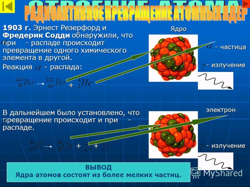 1903 г. Эрнест Резерфорд и Фредерик Содди обнаружили, что при - распаде происходит превращение одного химического элемента в другой. Реакция - распада: + В дальнейшем было установлено, что превращение происходит и при - распаде. + + + + Ядро Ядро - ч