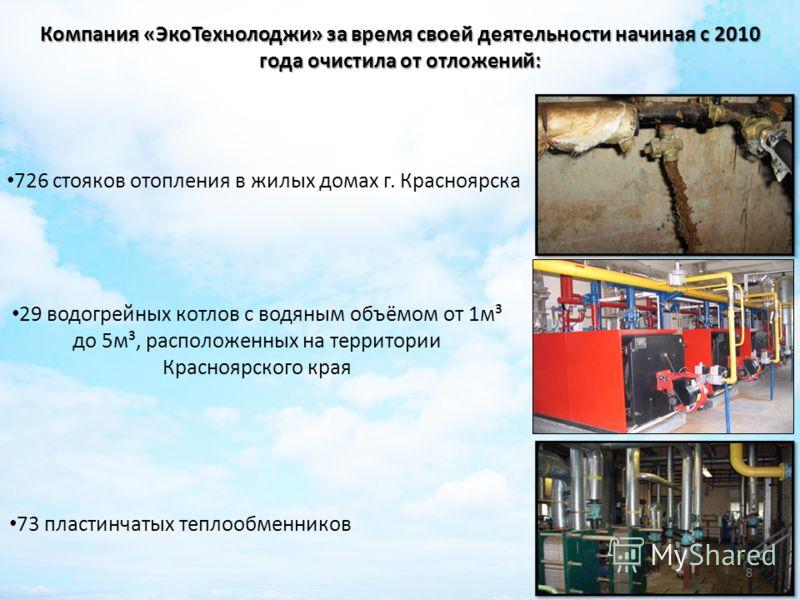 Компания «ЭкоТехнолоджи» за время своей деятельности начиная с 2010 года очистила от отложений: 726 стояков отопления в жилых домах г. Красноярска 29 водогрейных котлов с водяным объёмом от 1м³ до 5м³, расположенных на территории Красноярского края 7