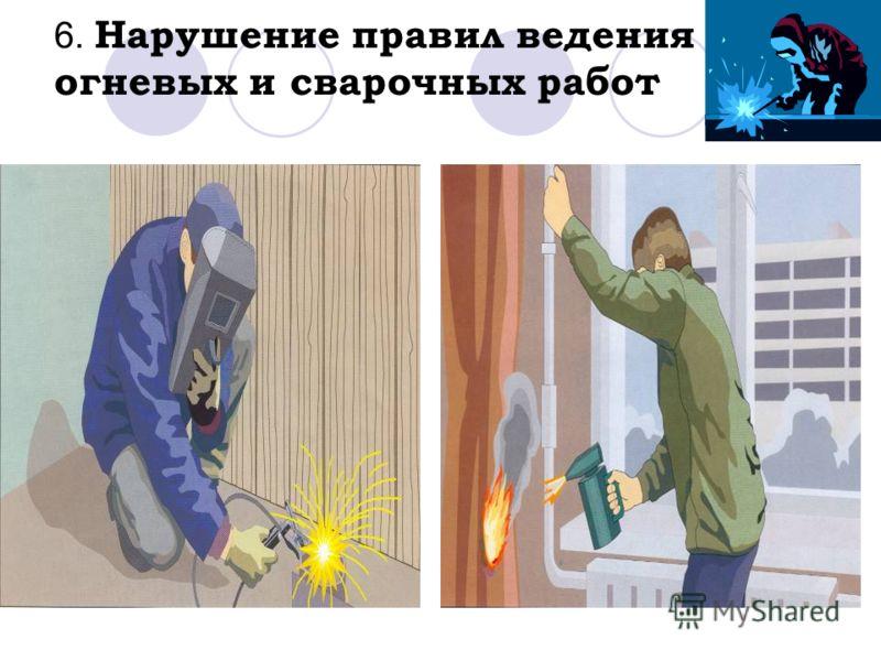 6. Нарушение правил ведения огневых и сварочных работ