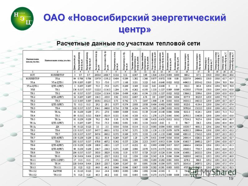 19 ОАО «Новосибирский энергетический центр» Расчетные данные по участкам тепловой сети