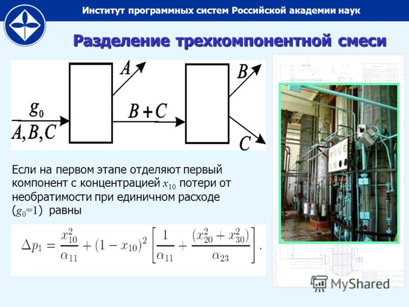 Институт программных систем Российской академии наук Разделение трехкомпонентной смеси Если на первом этапе отделяют первый компонент с концентрацией x 10 потери от необратимости при единичном расходе ( g 0 =1 ) равны