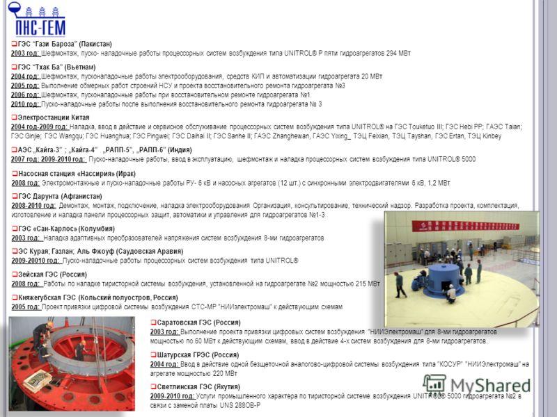 10 ГЭС Гази Бароза (Пакистан) 2003 год: Шефмонтаж, пуско- наладочные работы процессорных систем возбуждения типа UNITROL® P пяти гидроагрегатов 294 МВт ГЭС Тхак Ба (Вьетнам) 2004 год: Шефмонтаж, пусконаладочные работы электрооборудования, средств КИП