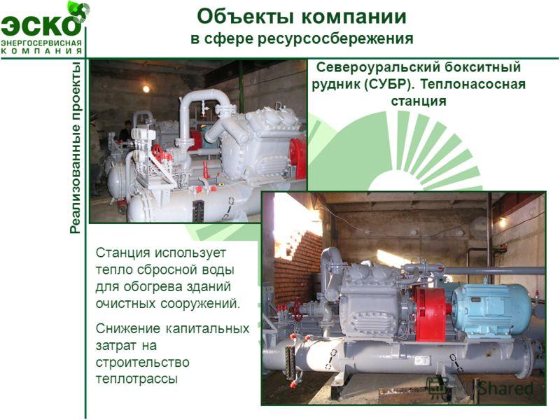 Реализованные проекты Североуральский бокситный рудник (СУБР). Теплонасосная станция Станция использует тепло сбросной воды для обогрева зданий очистных сооружений. Снижение капитальных затрат на строительство теплотрассы Объекты компании в сфере рес