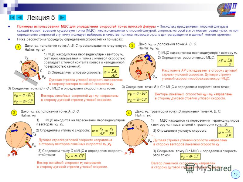 Лекция 5 Примеры использования МЦС для определения скоростей точек плоской фигуры – Поскольку при движении плоской фигуры в каждый момент времени существует точка (МЦС), жестко связанная с плоской фигурой, скорость которой в этот момент равна нулю, т