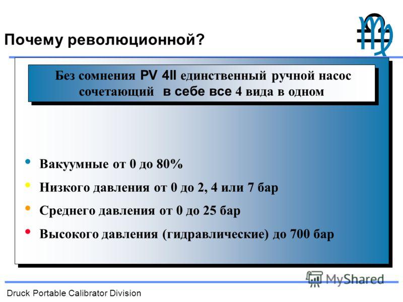 Druck Portable Calibrator Division Вакуумные от 0 до 80% Низкого давления от 0 до 2, 4 или 7 бар Среднего давления от 0 до 25 бар Высокого давления (гидравлические) до 700 бар Без сомнения PV 4II единственный ручной насос сочетающий в себе все 4 вида