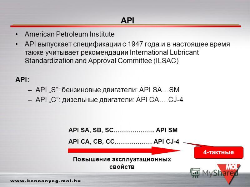 API American Petroleum Institute API выпускает спецификации с 1947 года и в настоящее время также учитывает рекомендации International Lubricant Standardization and Approval Committee (ILSAC) API: –API S: бензиновые двигатели: API SA…SM –API C: дизел