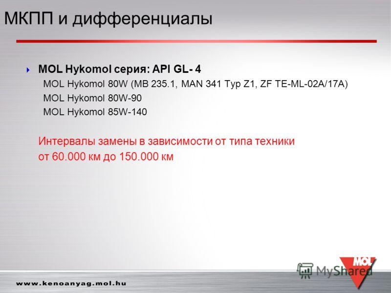 MOL Hykomol серия: API GL- 4 MOL Hykomol 80W (MB 235.1, MAN 341 Typ Z1, ZF TE-ML-02A/17A) MOL Hykomol 80W-90 MOL Hykomol 85W-140 Интервалы замены в зависимости от типа техники от 60.000 км до 150.000 км МКПП и дифференциалы