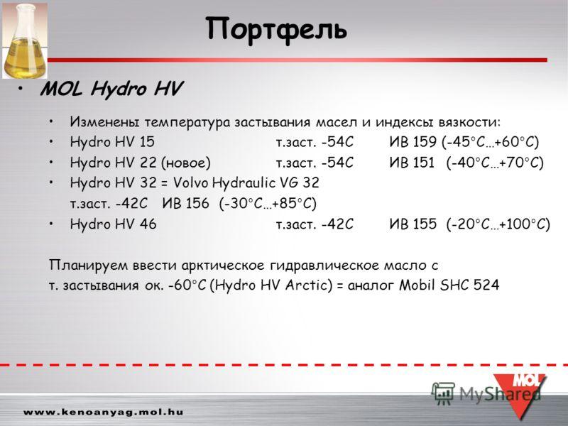 Изменены температура застывания масел и индексы вязкости: Hydro HV 15 т.заст. -54СИВ 159 (-45 ° C…+60 ° C) Hydro HV 22 (новое)т.заст. -54С ИВ 151(-40 ° C…+70 ° C) Hydro HV 32 = Volvo Hydraulic VG 32 т.заст. -42СИВ 156(-30 ° C…+85 ° C) Hydro HV 46т.за
