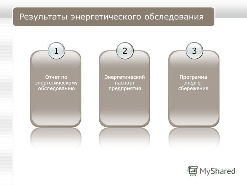 LOGO www.themegallery.comCompany Name 32 Результаты энергетического обследования 1 Отчет по энергетическому обследованию Энергетический паспорт предприятия Программа энерго- сбережения