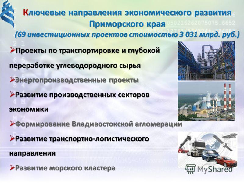 Ключевые направления экономического развития Приморского края (69 инвестиционных проектов стоимостью 3 031 млрд. руб.) Проекты по транспортировке и глубокой переработке углеводородного сырья Проекты по транспортировке и глубокой переработке углеводор