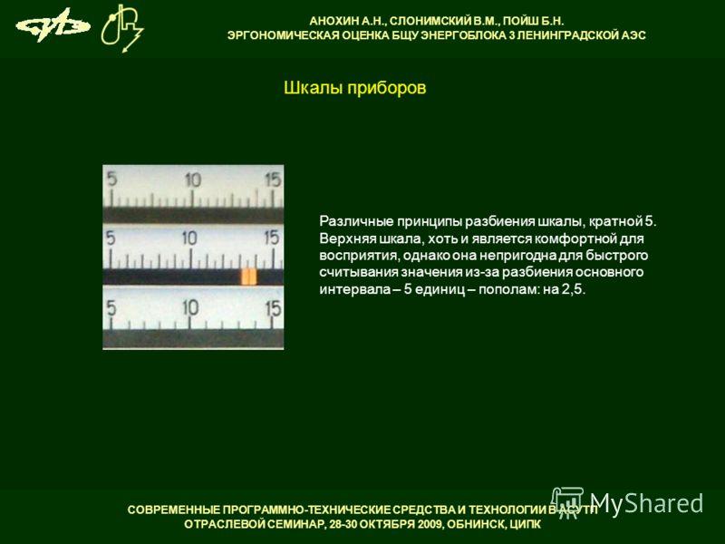 СОВРЕМЕННЫЕ ПРОГРАММНО-ТЕХНИЧЕСКИЕ СРЕДСТВА И ТЕХНОЛОГИИ В АСУТП ОТРАСЛЕВОЙ СЕМИНАР, 28-30 ОКТЯБРЯ 2009, ОБНИНСК, ЦИПК АНОХИН А.Н., СЛОНИМСКИЙ В.М., ПОЙШ Б.Н. ЭРГОНОМИЧЕСКАЯ ОЦЕНКА БЩУ ЭНЕРГОБЛОКА 3 ЛЕНИНГРАДСКОЙ АЭС Различные принципы разбиения шкал