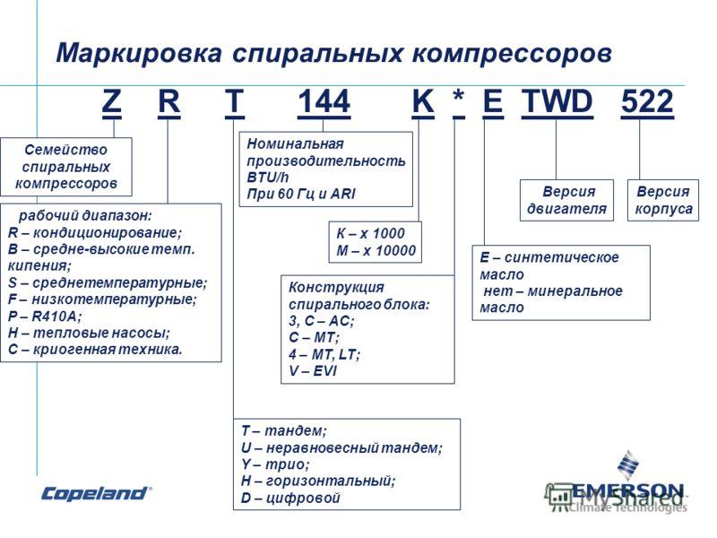 Z R T 144 K * E TWD 522 Семейство спиральных компрессоров рабочий диапазон: R – кондиционирование; B – средне-высокие темп. кипения; S – среднетемпературные; F – низкотемпературные; P – R410A; H – тепловые насосы; C – криогенная техника. T – тандем;