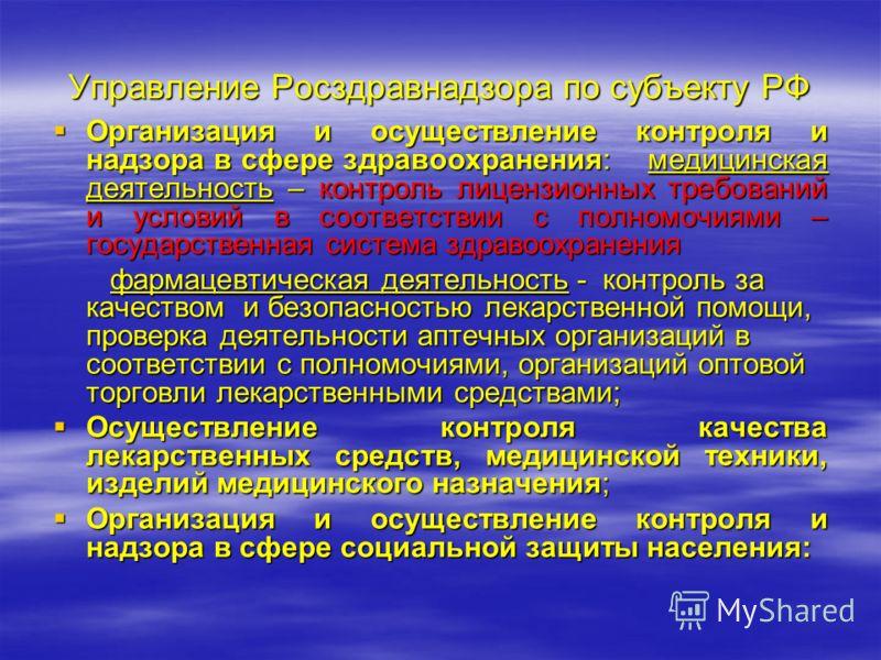 Управление Росздравнадзора по субъекту РФ Организация и осуществление контроля и надзора в сфере здравоохранения: медицинская деятельность – контроль лицензионных требований и условий в соответствии с полномочиями – государственная система здравоохра