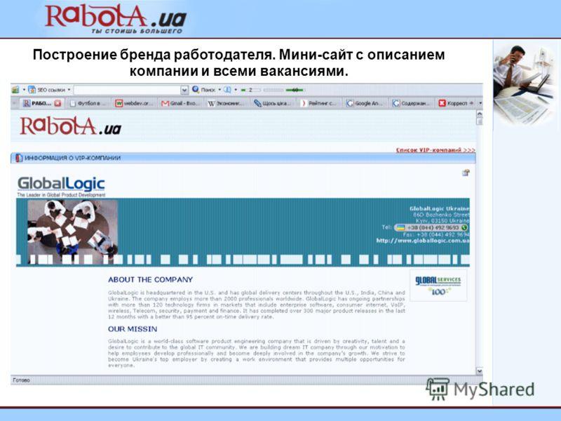 Построение бренда работодателя. Мини-сайт с описанием компании и всеми вакансиями.