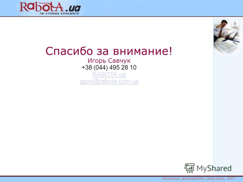 Спасибо за внимание! Игорь Савчук +38 (044) 495 28 10 RABOTA.ua igors@rabota.com.ua