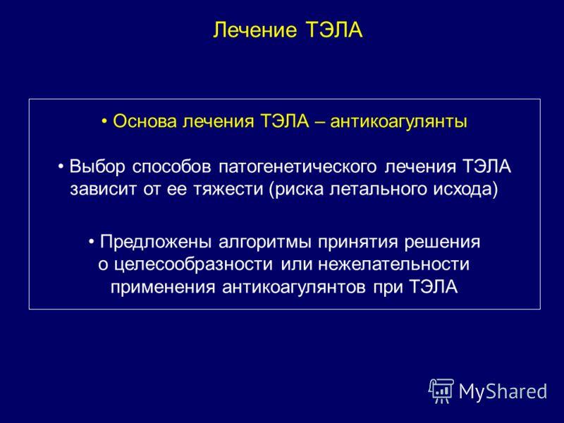 Лечение ТЭЛА Основа лечения ТЭЛА – антикоагулянты Выбор способов патогенетического лечения ТЭЛА зависит от ее тяжести (риска летального исхода) Предложены алгоритмы принятия решения о целесообразности или нежелательности применения антикоагулянтов пр