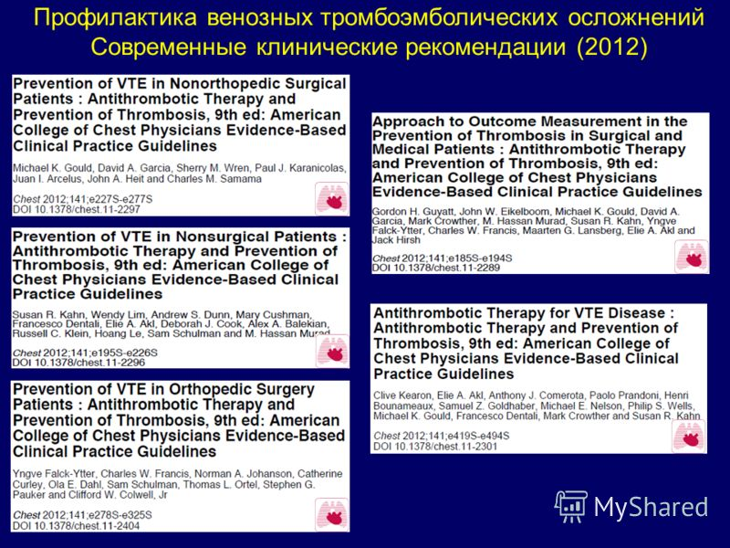 Профилактика венозных тромбоэмболических осложнений Современные клинические рекомендации (2012)