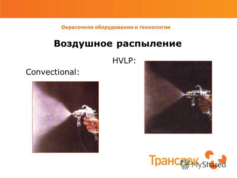 Окрасочное оборудование и технологии Воздушное распыление HVLP: Convectional: