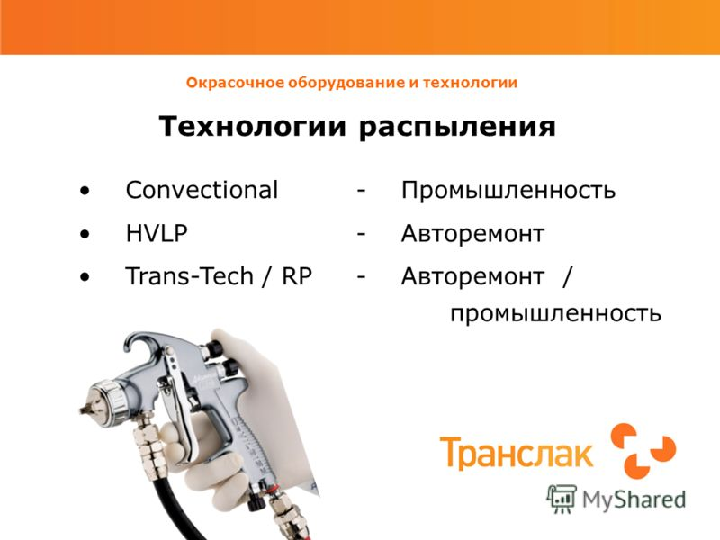 Окрасочное оборудование и технологии Технологии распыления Convectional HVLP Trans-Tech / RP - Промышленность - Авторемонт - Авторемонт / промышленность