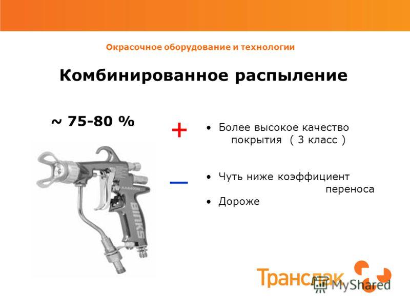 Окрасочное оборудование и технологии Комбинированное распыление ~ 75-80 % Более высокое качество покрытия ( 3 класс ) Чуть ниже коэффициент переноса Дороже +_+_