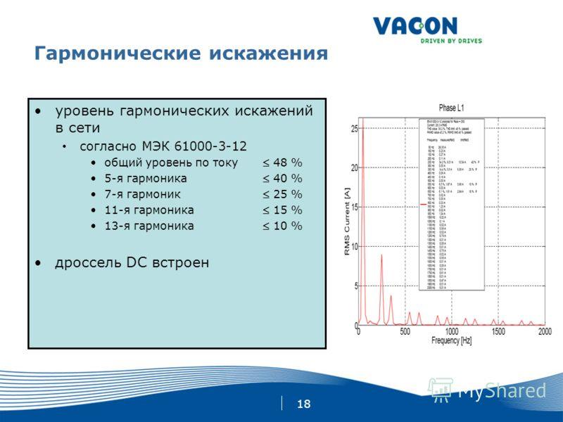 18 Гармонические искажения уровень гармонических искажений в сети согласно МЭК 61000-3-12 общий уровень по току 48 % 5-я гармоника 40 % 7-я гармоник 25 % 11-я гармоника 15 % 13-я гармоника 10 % дроссель DC встроен