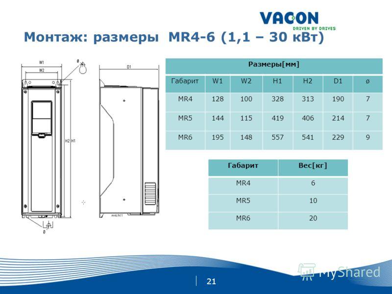 21 Монтаж: размеры MR4-6 (1,1 – 30 кВт) ГабаритВес[кг] MR46 MR510 MR620 Размеры[мм] ГабаритW1W2H1H2D1ø MR41281003283131907 MR51441154194062147 MR61951485575412299