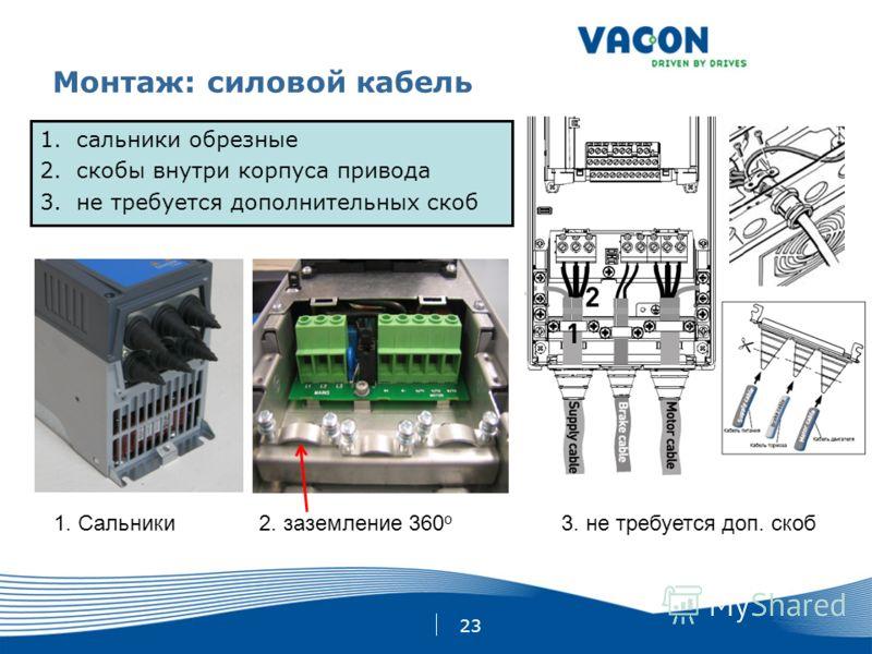 23 Монтаж: силовой кабель 1.сальники обрезные 2.скобы внутри корпуса привода 3.не требуется дополнительных скоб 1. Сальники2. заземление 360 o 3. не требуется доп. скоб