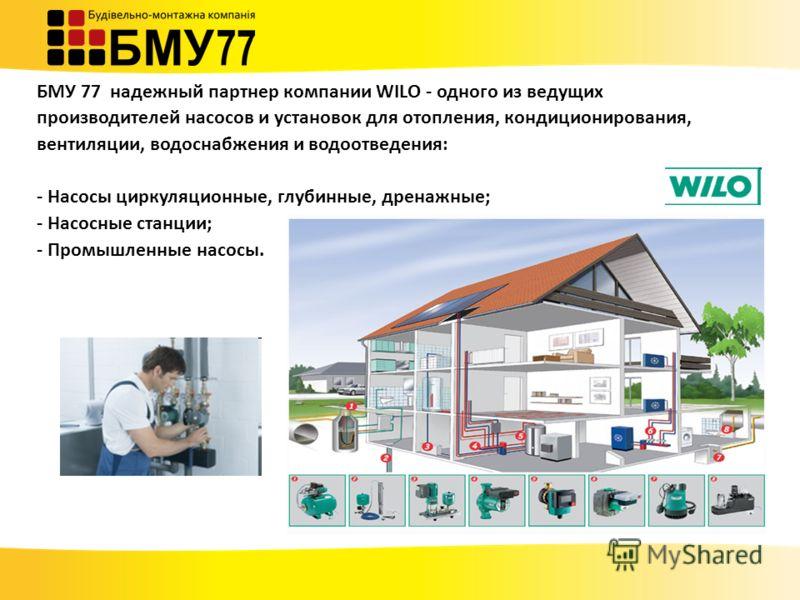 БМУ 77 надежный партнер компании WILO - одного из ведущих производителей насосов и установок для отопления, кондиционирования, вентиляции, водоснабжения и водоотведения: - Насосы циркуляционные, глубинные, дренажные; - Насосные станции; - Промышленны