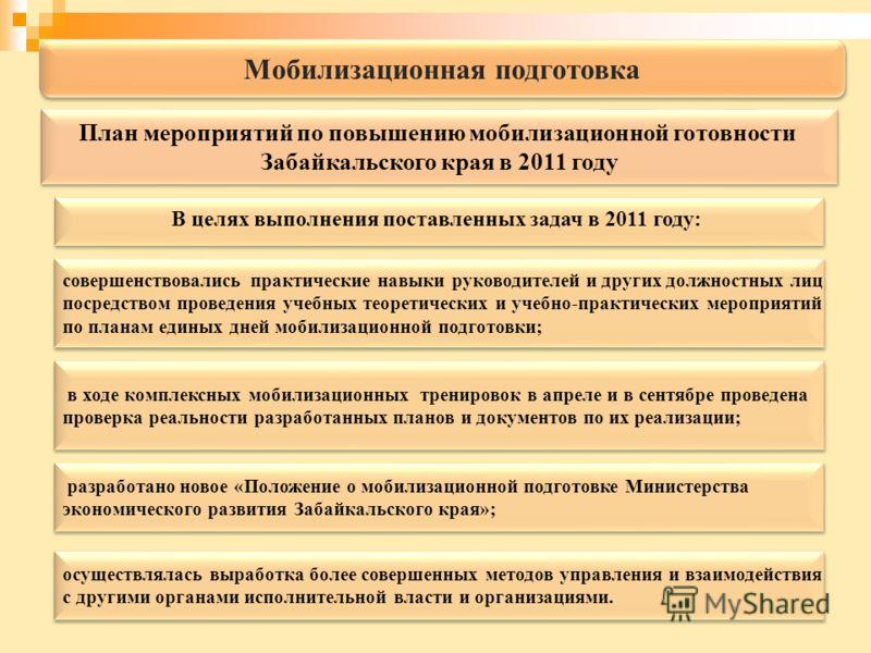 Мобилизационная подготовка В целях выполнения поставленных задач в 2011 году: совершенствовались практические навыки руководителей и других должностных лиц посредством проведения учебных теоретических и учебно-практических мероприятий по планам едины