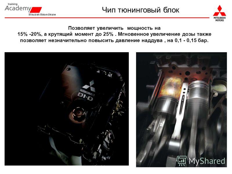 Mitsubishi Motors Ukraine Позволяет увеличить мощность на 15% -20%, а крутящий момент до 25%. Мгновенное увеличение дозы также позволяет незначительно повысить давление наддува, на 0,1 - 0,15 бар. Чип тюнинговый блок