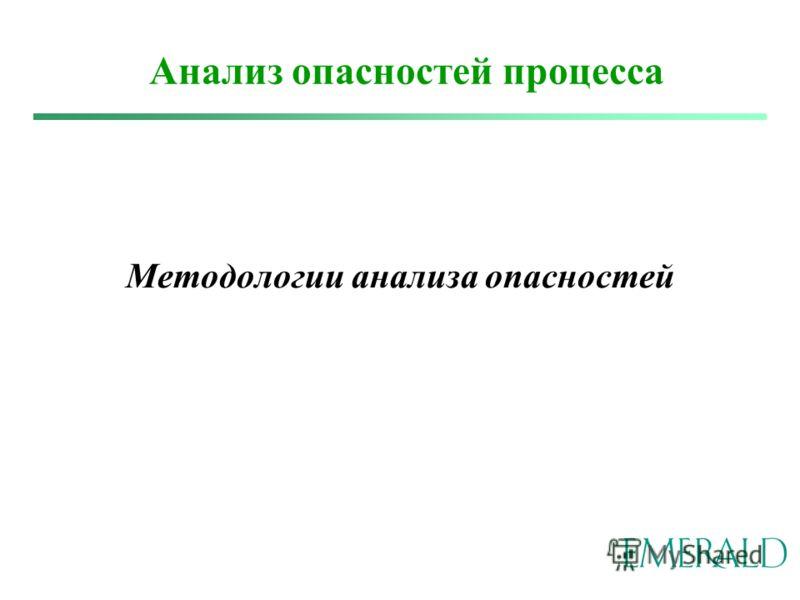 Методологии анализа опасностей Анализ опасностей процесса