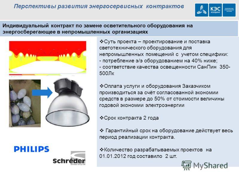 Перспективы развития энергосервисных контрактов Индивидуальный контракт по замене осветительного оборудования на энергосберегающее в непромышленных организациях Суть проекта – проектирование и поставка светотехнического оборудования для непромышленны