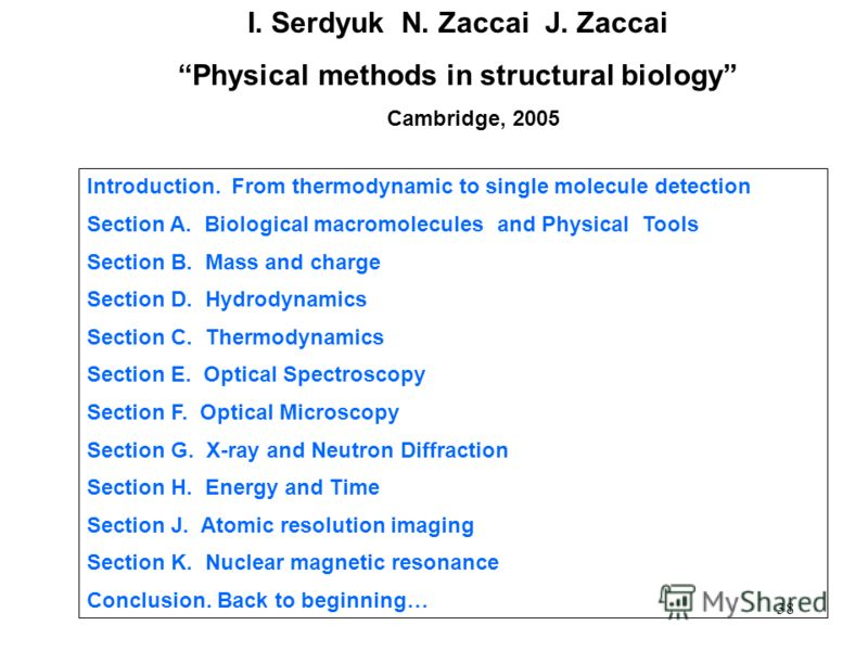 38 I. Serdyuk N. Zaccai J. Zaccai Physical methods in structural biology Cambridge, 2005 Introduction. From thermodynamic to single molecule detection Section A. Biological macromolecules and Physical Tools Section B. Mass and charge Section D. Hydro