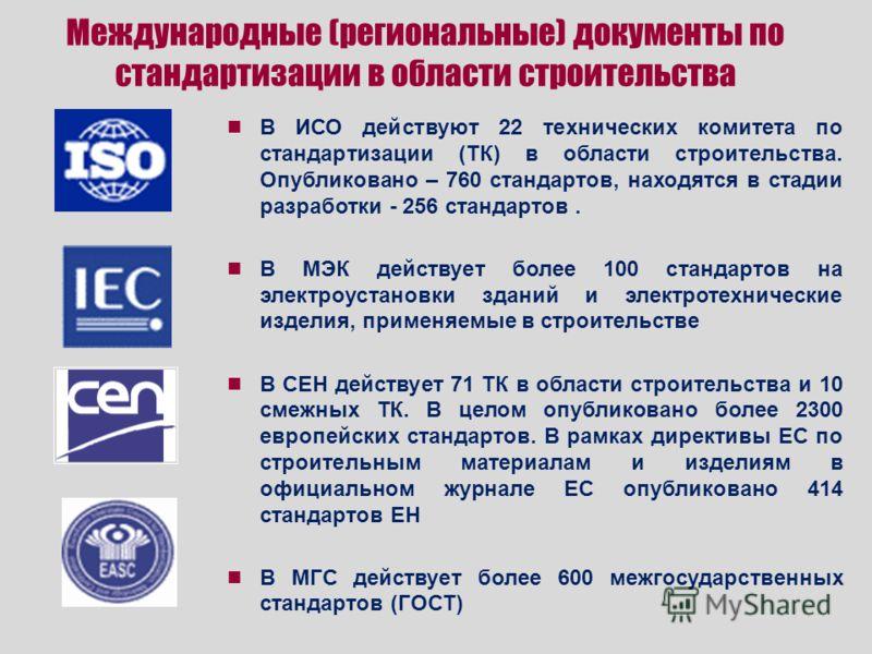 Международные (региональные) документы по стандартизации в области строительства В ИСО действуют 22 технических комитета по стандартизации (ТК) в области строительства. Опубликовано – 760 стандартов, находятся в стадии разработки - 256 стандартов. В
