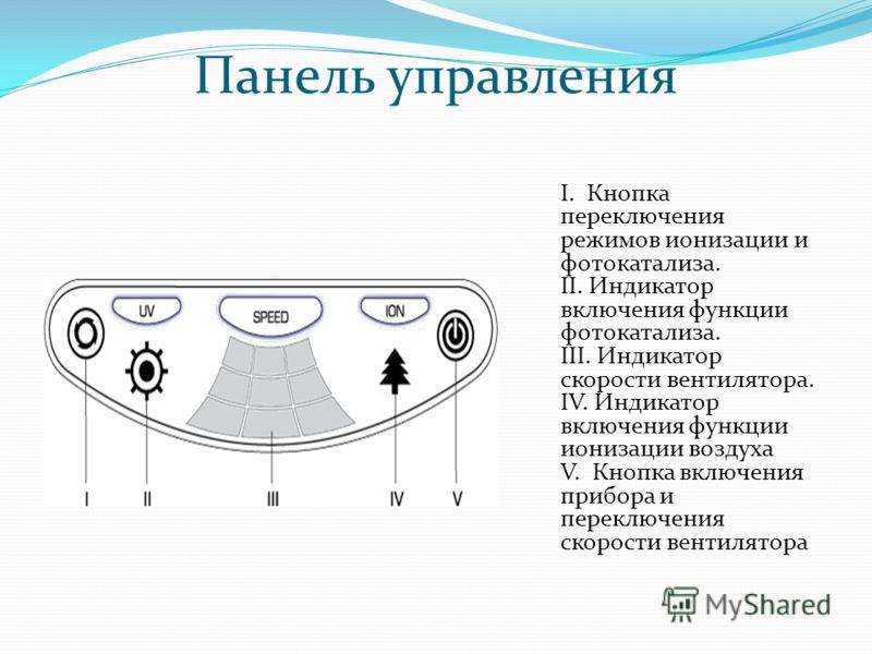 Панель управления I. Кнопка переключения режимов ионизации и фотокатализа. II. Индикатор включения функции фотокатализа. III. Индикатор скорости вентилятора. IV. Индикатор включения функции ионизации воздуха V. Кнопка включения прибора и переключения