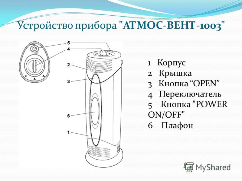 Устройство прибора АТМОС-ВЕНТ-1003 1 Корпус 2 Крышка 3 Кнопка OPEN 4 Переключатель 5 Кнопка POWER ON/OFF 6 Плафон