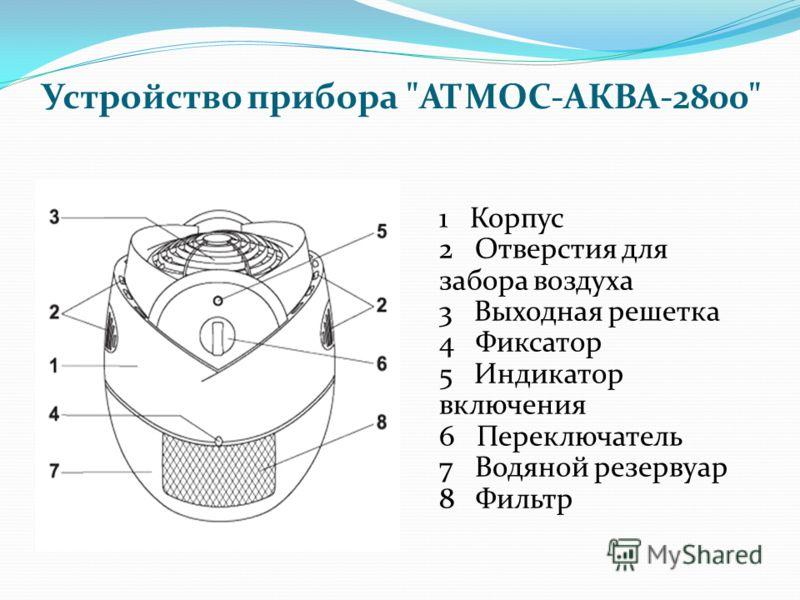 Устройство прибора АТМОС-АКВА-2800 1 Корпус 2 Отверстия для забора воздуха 3 Выходная решетка 4 Фиксатор 5 Индикатор включения 6 Переключатель 7 Водяной резервуар 8 Фильтр
