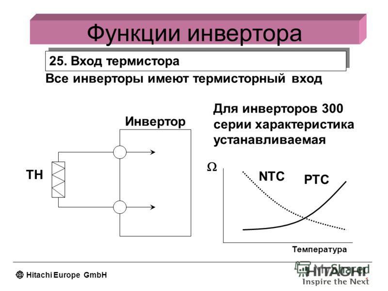 Hitachi Europe GmbH 25. Вход термистора Функции инвертора Все инверторы имеют термисторный вход Для инверторов 300 серии характеристика устанавливаемая Температура PTC NTC TH Инвертор