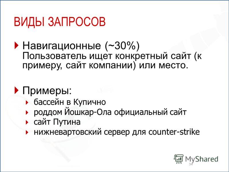 ВИДЫ ЗАПРОСОВ Навигационные (~30%) Пользователь ищет конкретный сайт (к примеру, сайт компании) или место. Примеры: бассейн в Купично роддом Йошкар-Ола официальный сайт сайт Путина нижневартовский сервер для counter-strike 34
