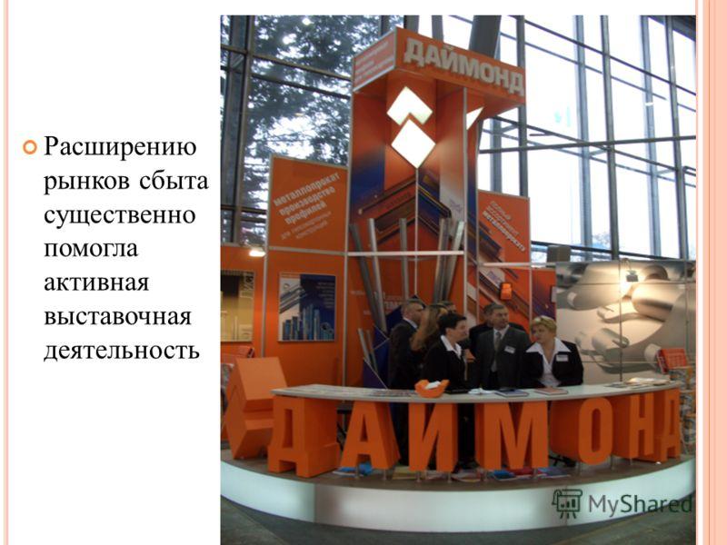 Расширению рынков сбыта существенно помогла активная выставочная деятельность