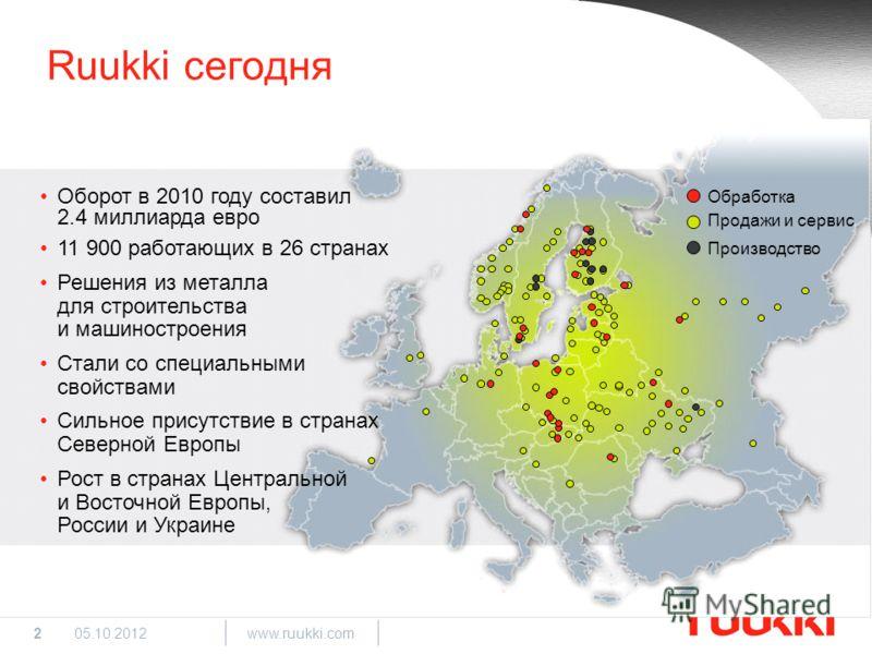 2 www.ruukki.com 29.08.2012 Ruukki сегодня Обработка Продажи и сервис Производство Оборот в 2010 году составил 2.4 миллиарда евро 11 900 работающих в 26 странах Решения из металла для строительства и машиностроения Стали со специальными свойствами Си
