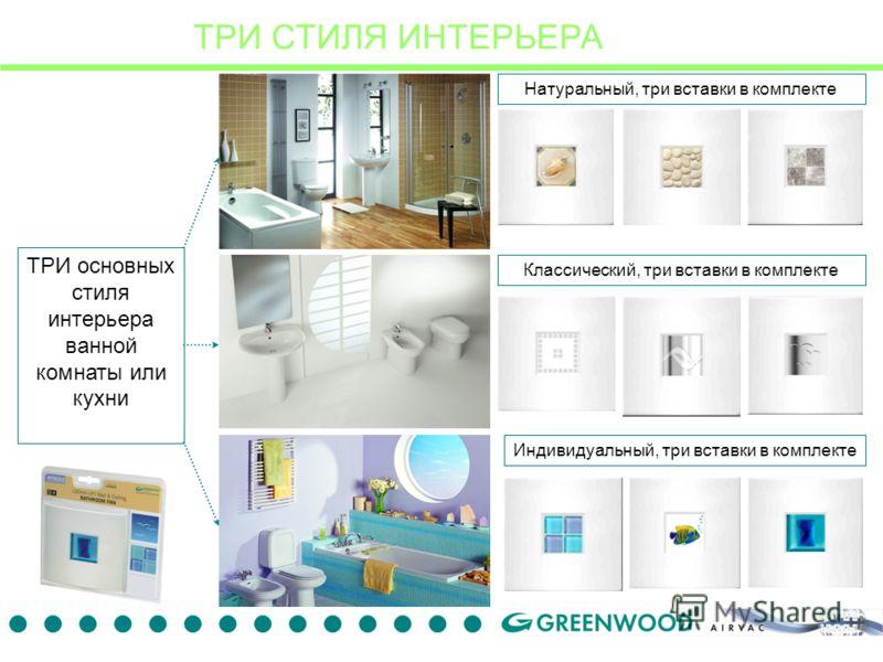 ТРИ СТИЛЯ ИНТЕРЬЕРА ТРИ основных стиля интерьера ванной комнаты или кухни Натуральный, три вставки в комплекте Индивидуальный, три вставки в комплекте Классический, три вставки в комплекте