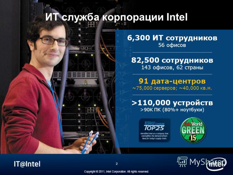 2 Copyright © 2011, Intel Corporation. All rights reserved. ИТ служба корпорации Intel 6,300 ИТ сотрудников 56 офисов 82,500 сотрудников 143 офисов, 62 страны 91 дата-центров ~75,000 серверов; ~40,000 кв.м. >110,000 устройств >90K ПК (80%+ ноутбуки)