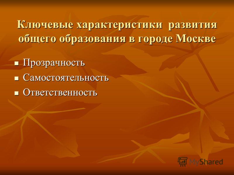 Ключевые характеристики развития общего образования в городе Москве Прозрачность Прозрачность Самостоятельность Самостоятельность Ответственность Ответственность