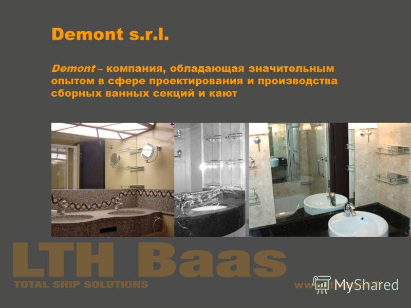 www.lth-baas.fi Demont s.r.l. Demont – компания, обладающая значительным опытом в сфере проектирования и производства сборных ванных секций и кают