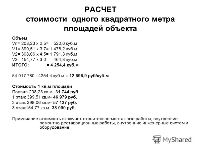 РАСЧЕТ стоимости одного квадратного метра площадей объекта Объем Vп= 208,23 х 2,5= 520,6 куб.м V1= 399,51 х 3,7= 1 478,2 куб.м V2= 398,06 х 4,5= 1 791,3 куб.м V3= 154,77 х 3,0= 464,3 куб.м ИТОГО: = 4 254,4 куб.м 54 017 780 : 4254,4 куб.м = 12 696,9 р
