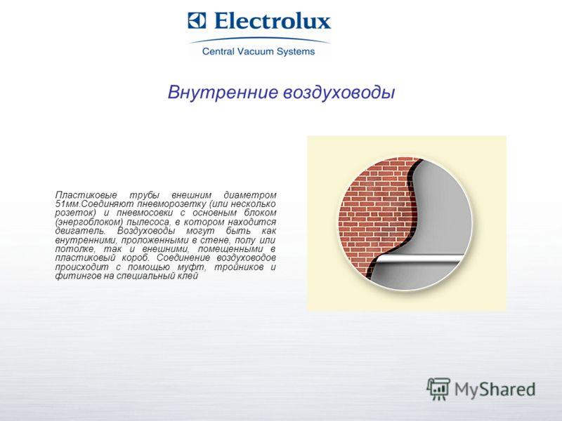 Внутренние воздуховоды Пластиковые трубы внешним диаметром 51мм.Соединяют пневморозетку (или несколько розеток) и пневмосовки с основным блоком (энергоблоком) пылесоса, в котором находится двигатель. Воздуховоды могут быть как внутренними, проложенны
