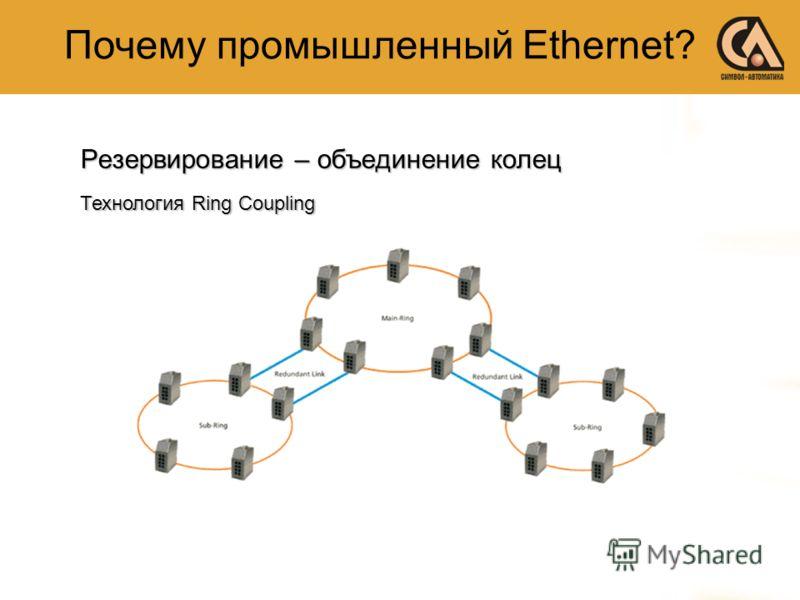 Резервирование – объединение колец Технология Ring Coupling Почему промышленный Ethernet?