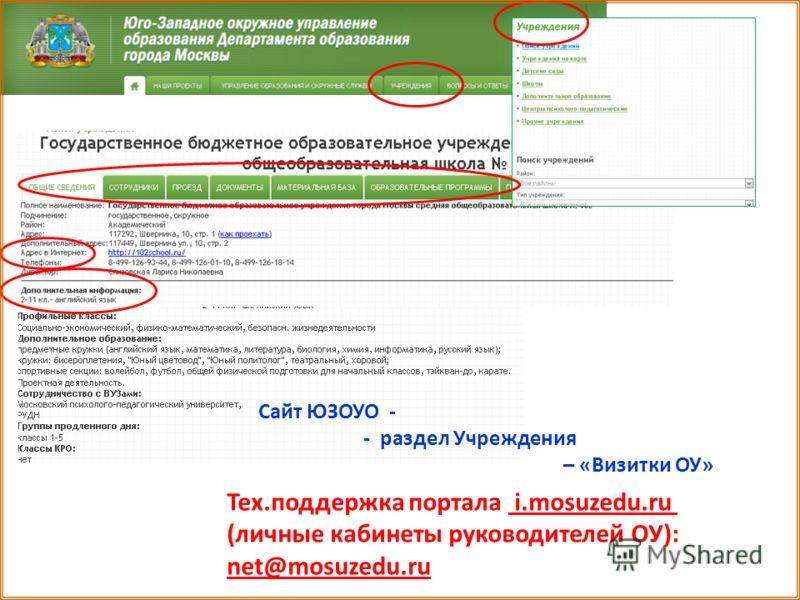 Сайт ЮЗОУО - - раздел Учреждения – «Визитки ОУ» Тех.поддержка портала i.mosuzedu.ru (личные кабинеты руководителей ОУ): net@mosuzedu.ru